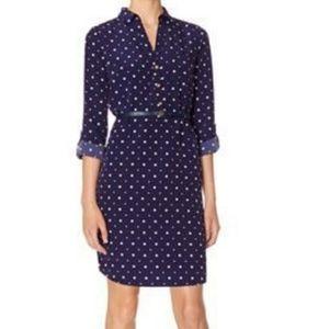 The Limited navy polka-dot roll tab sleeve dress